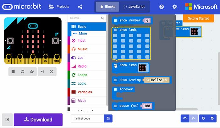 MakeCode es un editor gráfico online y gratuito para aprender programación