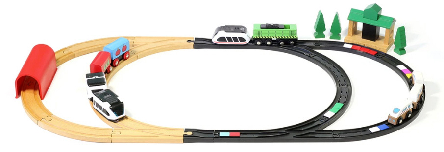 intelino tren compatible vias madera