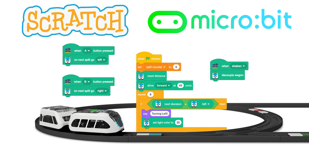 intelino tren steam scrath microbit para escuelas