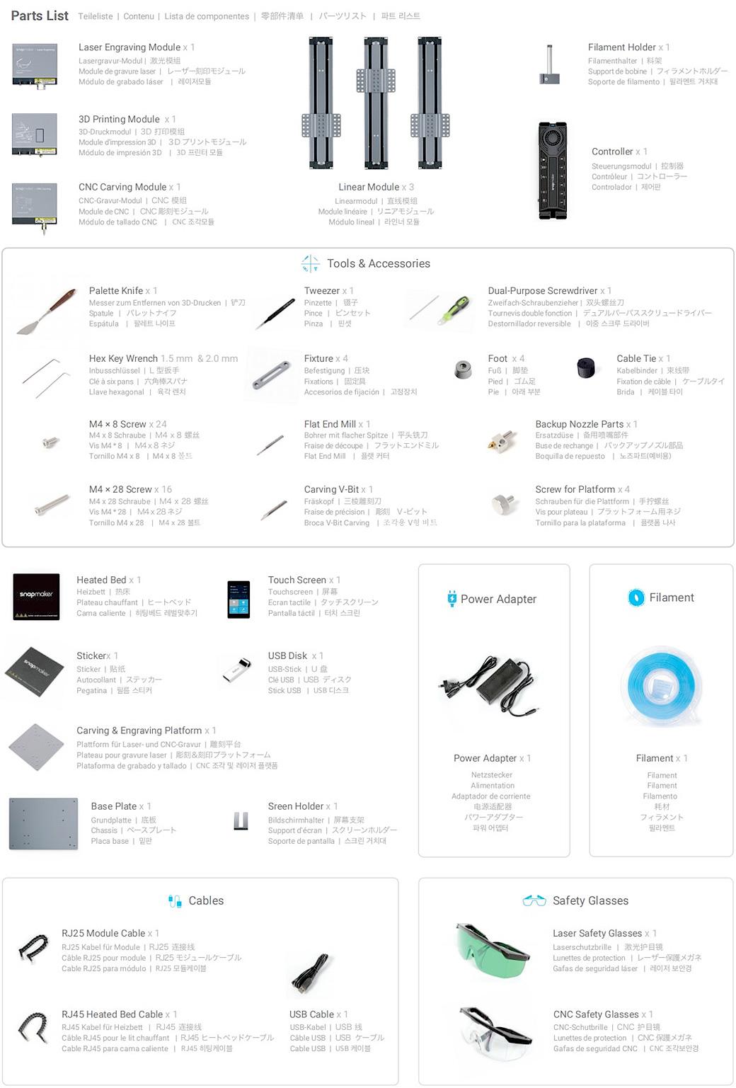 impresora 3d snapmaker incluye