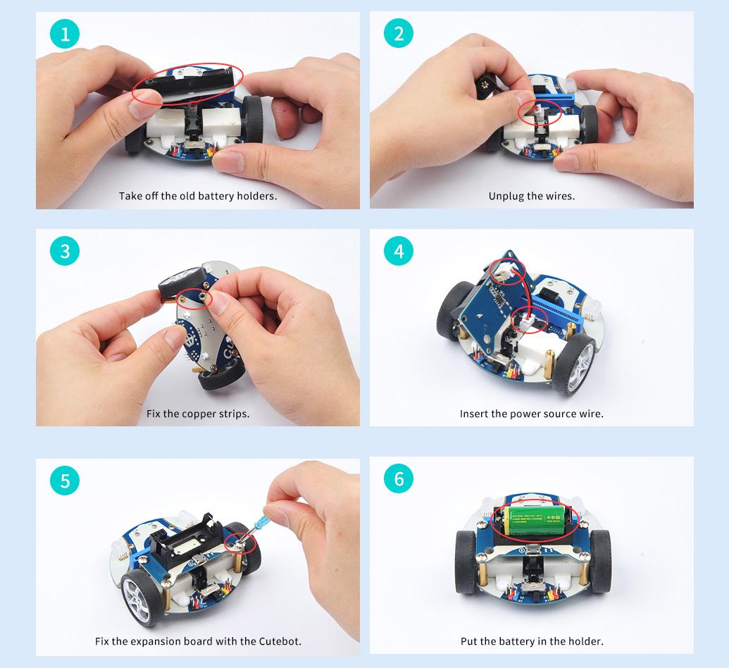 montaje bateria cutebot