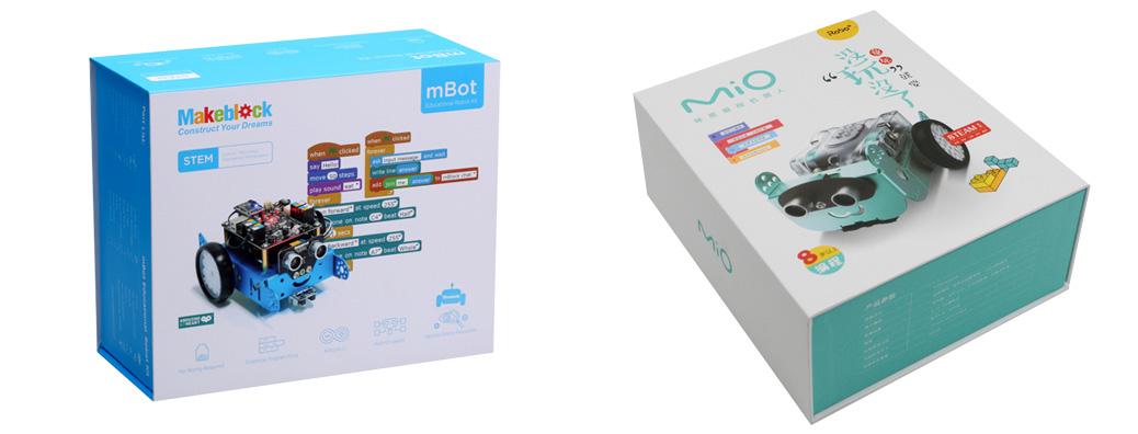 Comparativa mBot vs. Mio - Embalaje, materiales y acabado