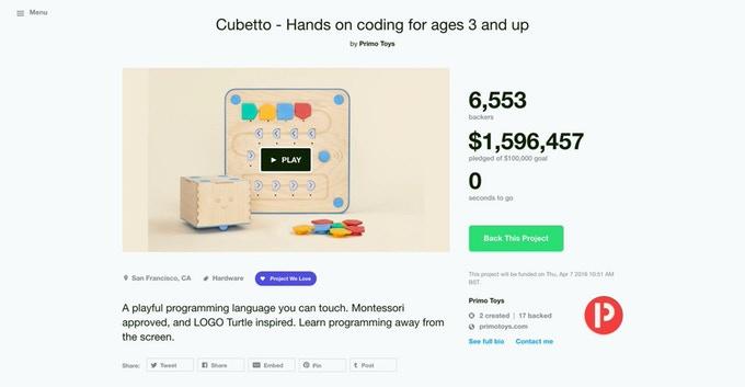 Cubetto es el proyecto educativo más apoyado en Kickstarter