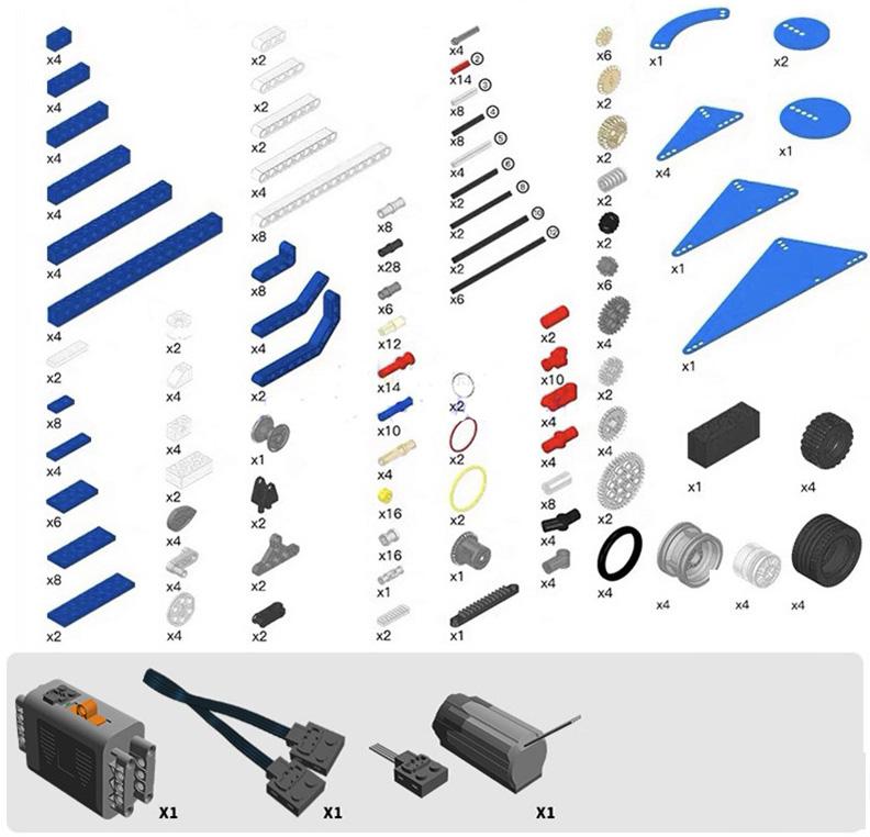 kit de construccion maquinas motorizadas piezas